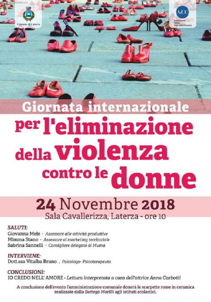 Scarpette rosse a Laterza contro la violenza sulle donne