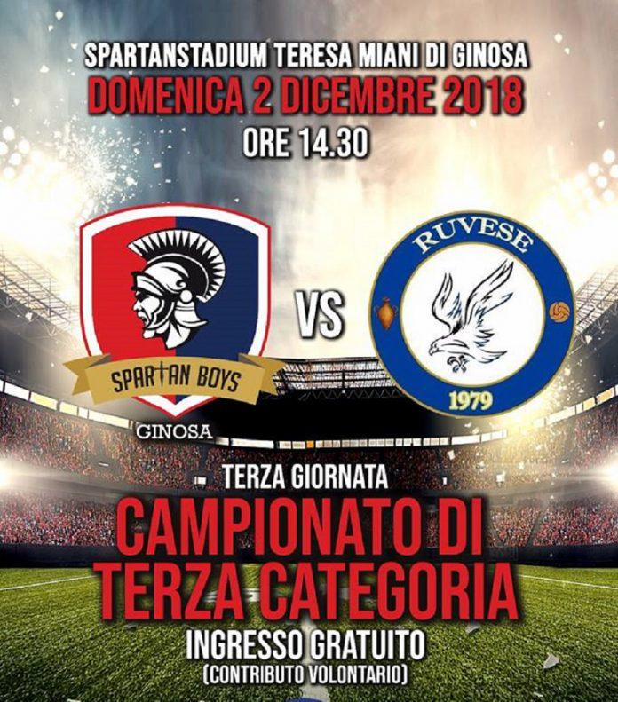Gli Spartan Boys affrontano la Ruvese allo stadio Miani di Ginosa