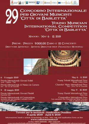 29° Concorso Internazionale per Giovani Musicisti 'Città di Barletta' 6 – 12 maggio 2019