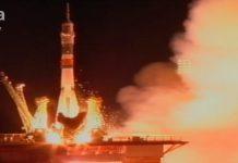 Lancio della Soyuz, nella base di Baikonur, in Kazakistan