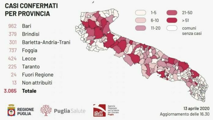 Bollettino Epidemiologico della Regione Puglia del 13.04.2020