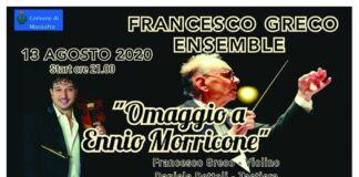 """A Chiatona la """"Francesco Greco Ensemble"""" omaggerà Ennio Morricone"""