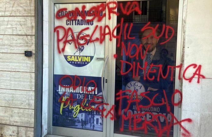 Martina Franca, imbrattato comitato elettorale Lega