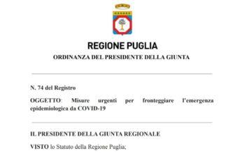 ordinanza regionale puglia 74